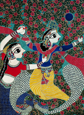Radha And Krishna with Dancing Peacocks