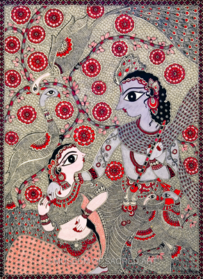The Meeting Of Radha And Krishna