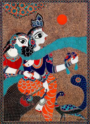 Krishna Holding Parrots