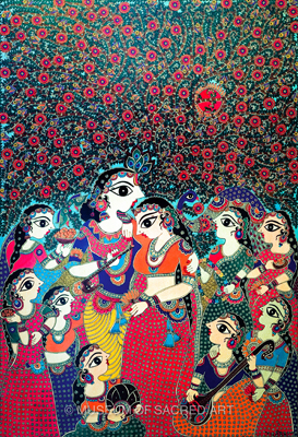Eight Principle Gopis with Radha Krishna