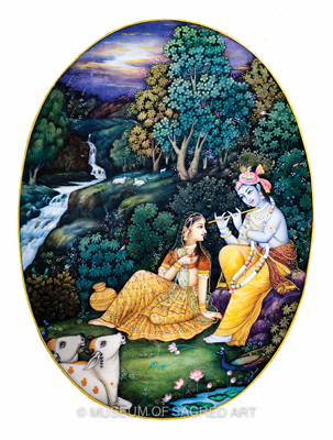 Radha And Krishna Near The River