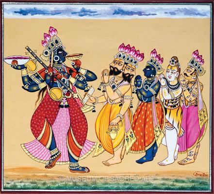 Brahma, Visnu, Shiva, And Indra Visit Mahadevi