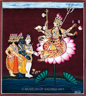 Brahma, Visnu And Shiva Visit Devi