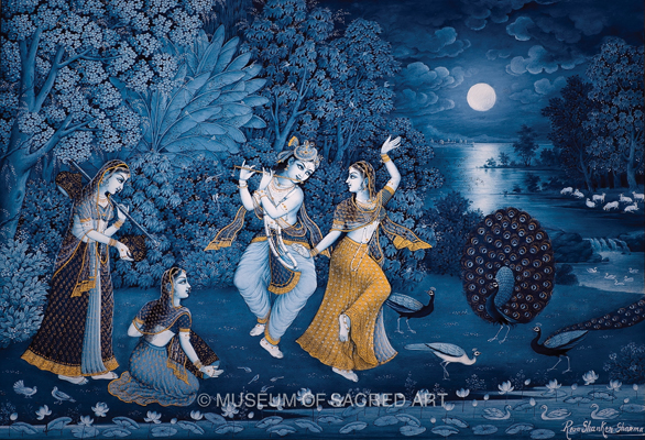 Krishna And Radha Dancing In Moonlight
