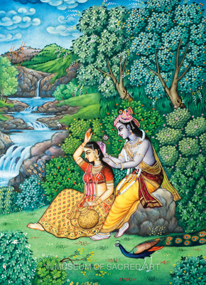 Krishna Puts Flower in Radha's Hair