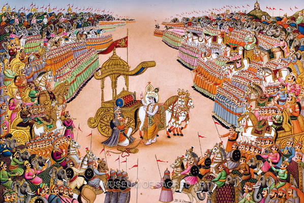 Krishna Expounds the Bhagavad Gita on the Battlefield
