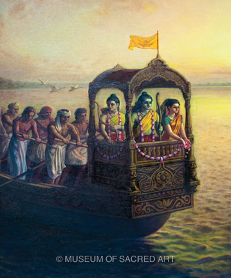 Sita, Rama And Lakshmana Cross the Ocean