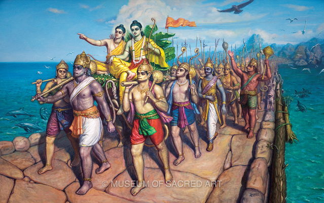 Rama, Laksmana and the Army Crossing the Ocean to Lanka