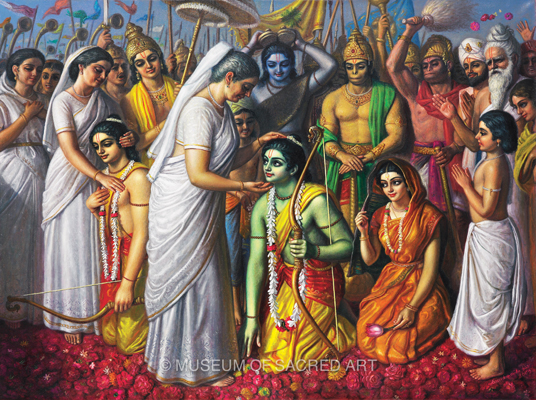 Sita, Rama and Lakshmana Return to Ayodhya