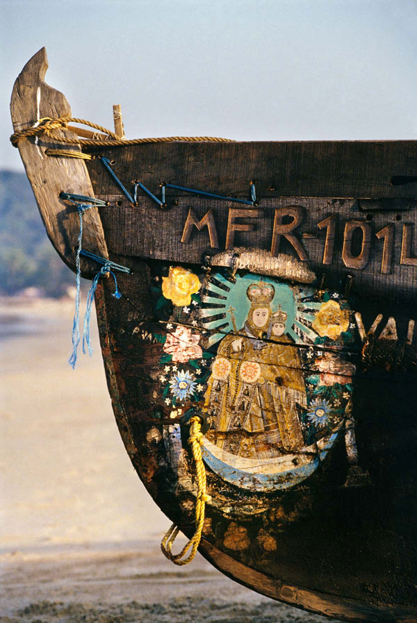 Boat in Goa with gods