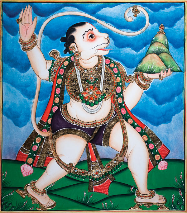 Hanuman Carries Gandhamadana Mountain to Lanka