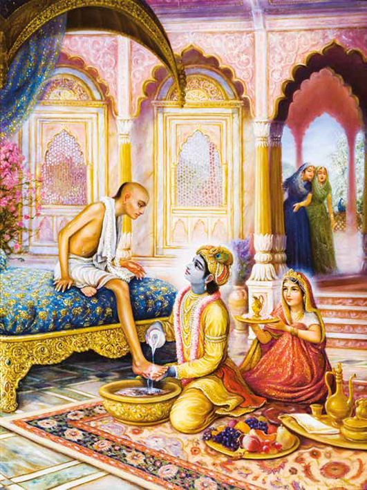 Krishna Welcomes his friend Sudama