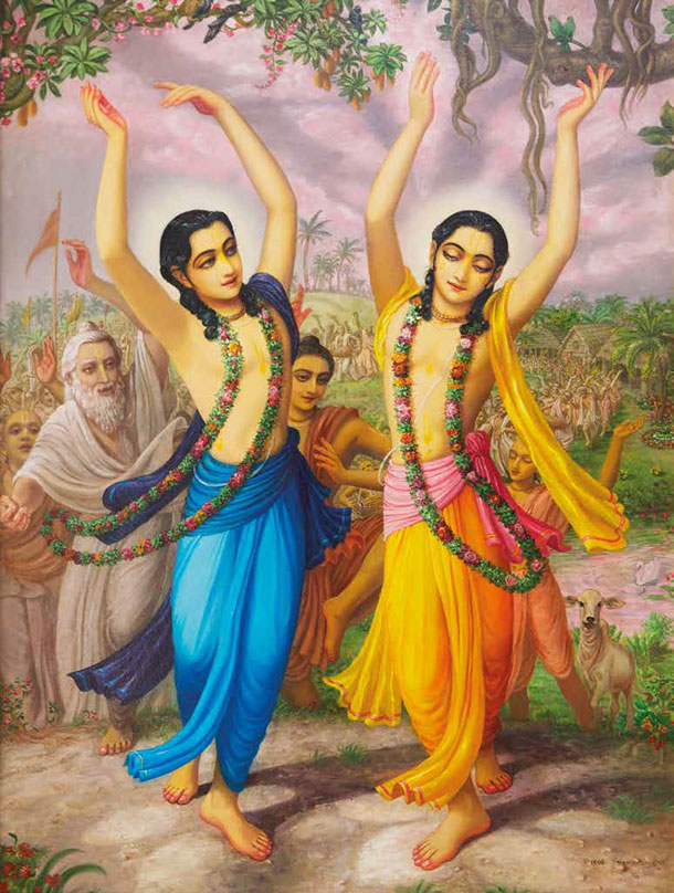 Lord Chaitanya and Nityananda Leading Kirtan