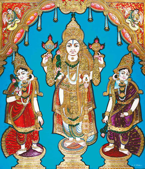 Vishnu Flanked by Consorts
