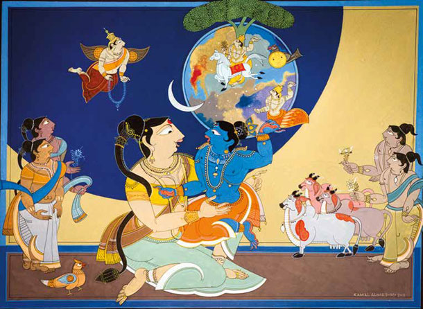 Yashoda Sees Universe in Krishna's Mouth
