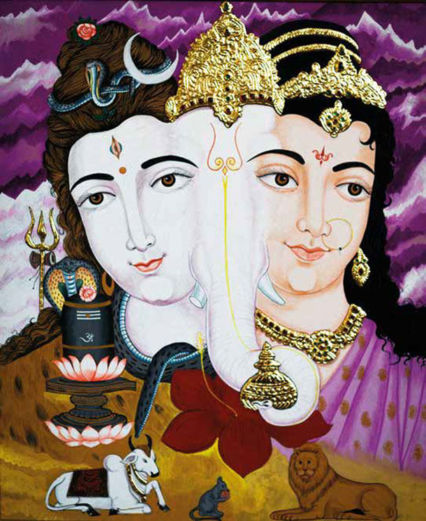 Ganesha, Shiva and Parvati