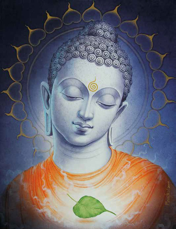 Buddha with Peepal Leaf