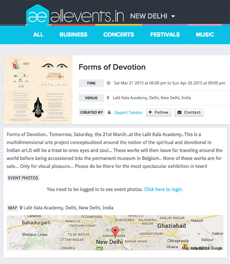All Events (21st March 2015)- Forms of Devotion