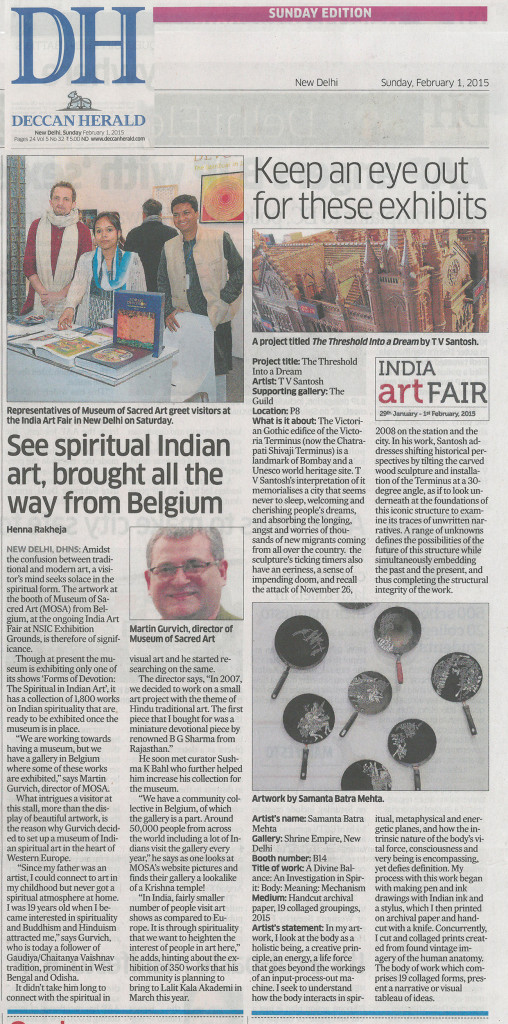 Deccan Herald (New Delhi 1 February 2015)- See piritual Indian art brought all the way from Belgium