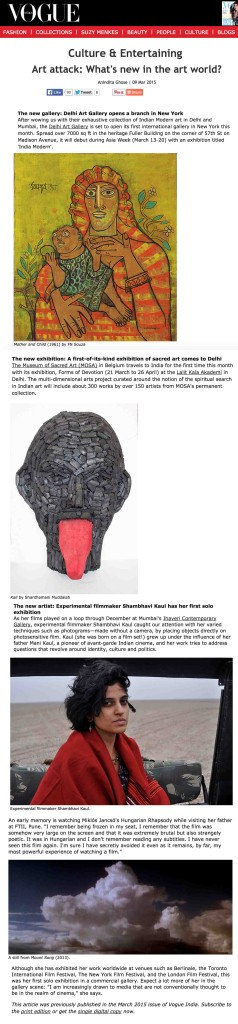 Vogue India (9th March 2015) - Art Attack - What is new in the art world