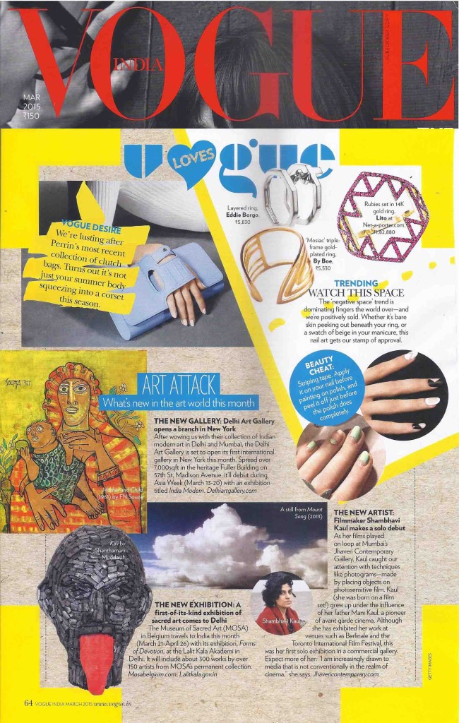 Vogue India (National Edition March 2015 Issue) - Art Attack - What is new in the art world